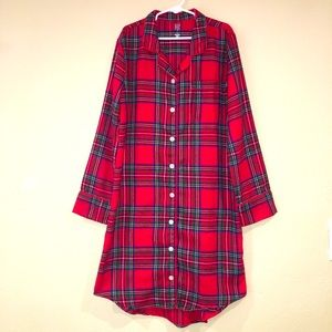 GAP kids classic red plaid holiday night gown